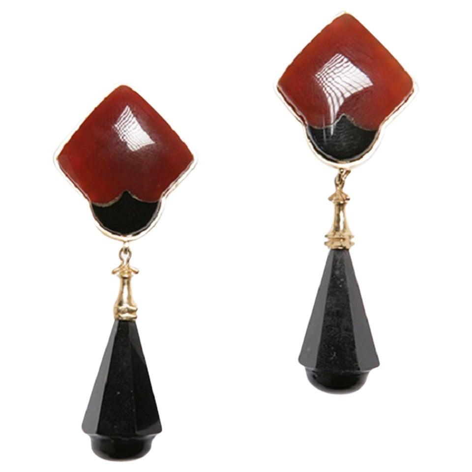 Black Onyx Carnelian Drop Earrings