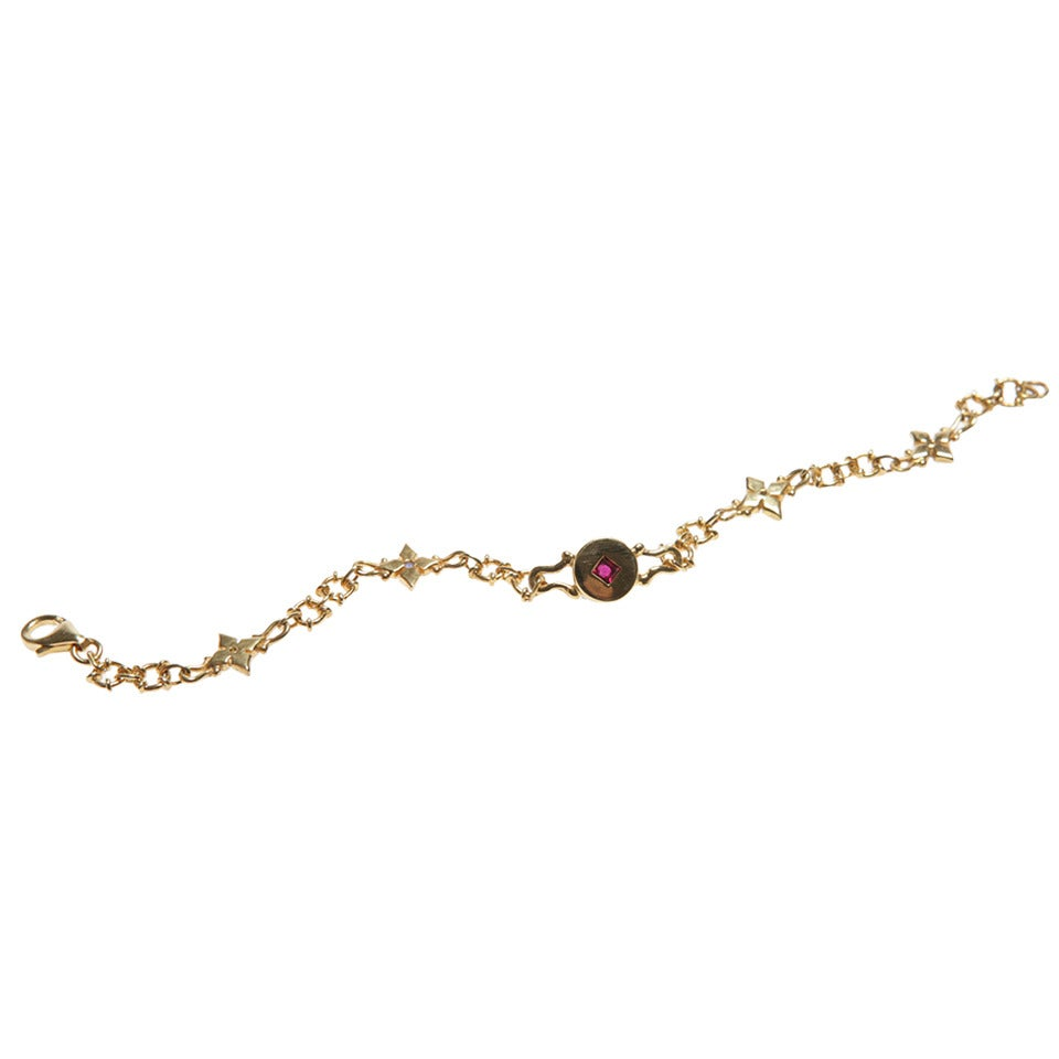 Delicate Ruby Sapphire Diamond Gold Bracelet For Sale at 1stdibs