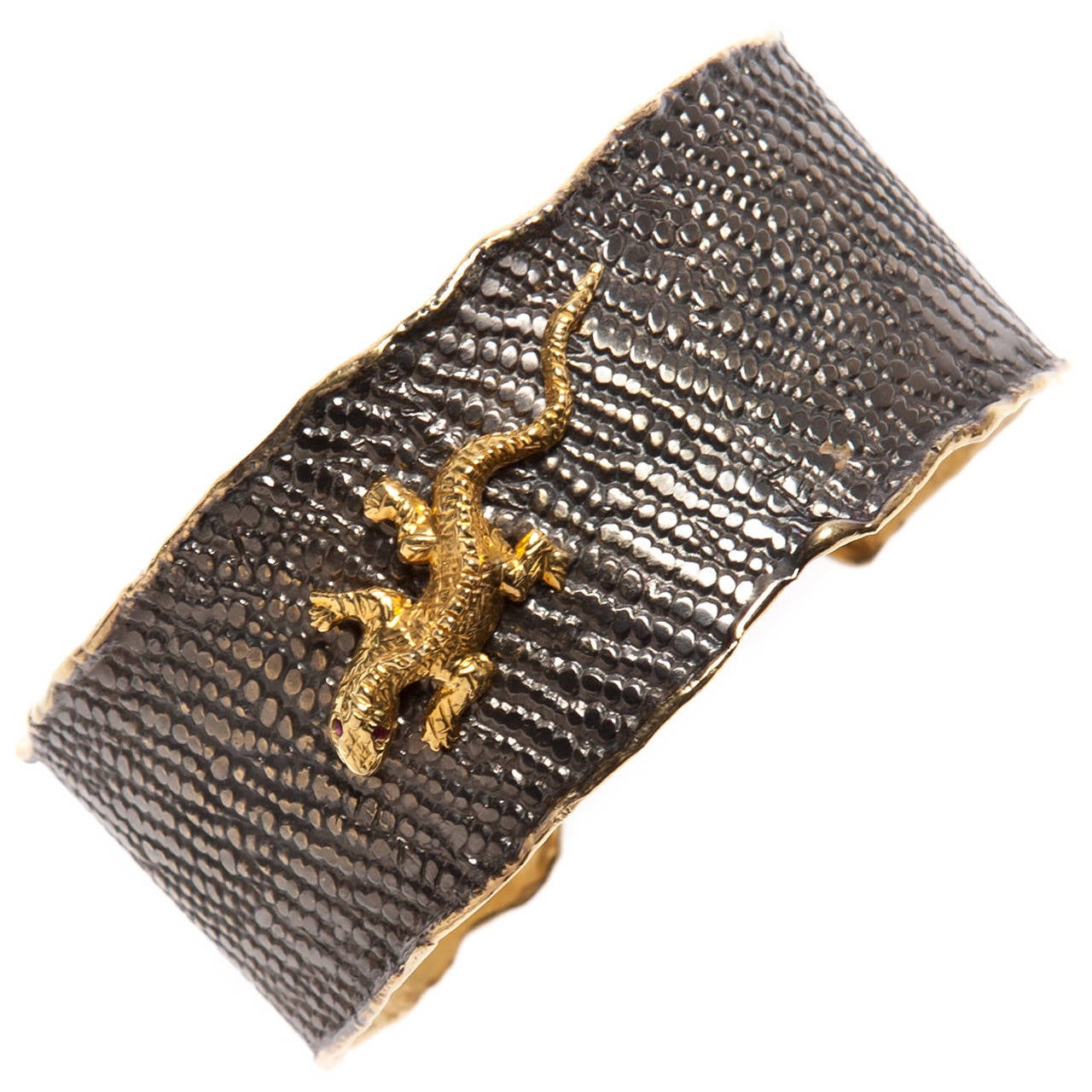 Gold Iguana Black Rhodium Cuff
