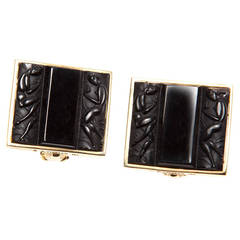 Cipullo Art Deco Glass Inlay Gold Earrings