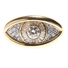 Cipullo Diamond Gold Platinum Eye on the Right Hand Vintage Ring