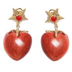 Renato Cipullo Gold Coral Heart Drop Earrings
