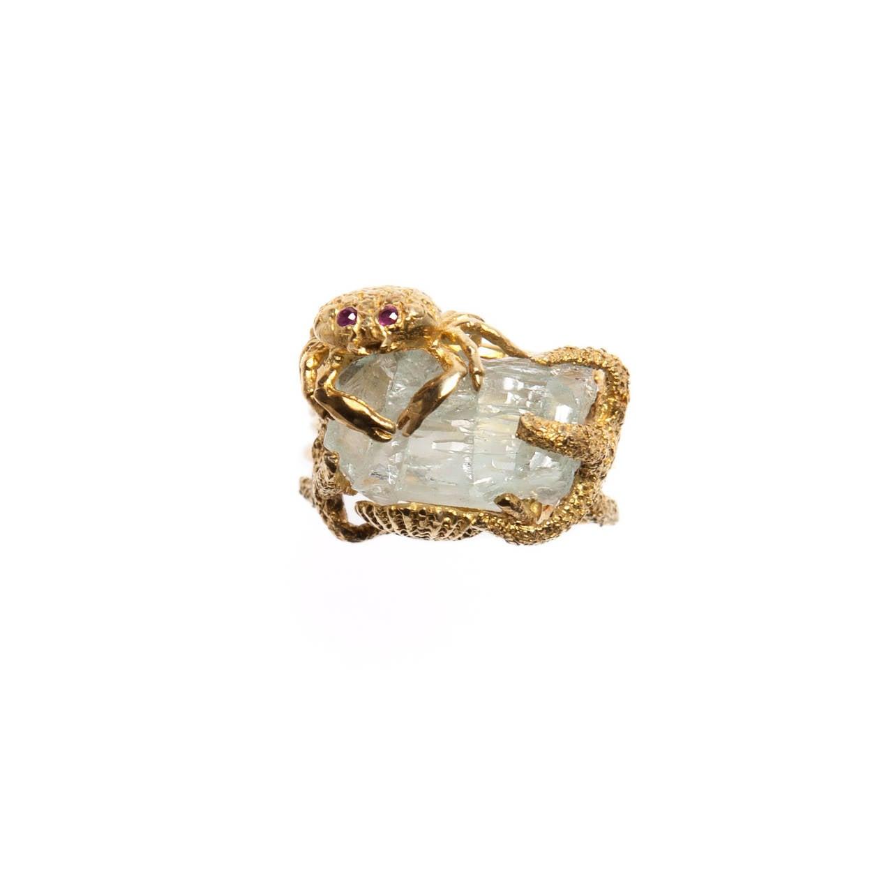Whimsical Aquamarine Gold Ring 2