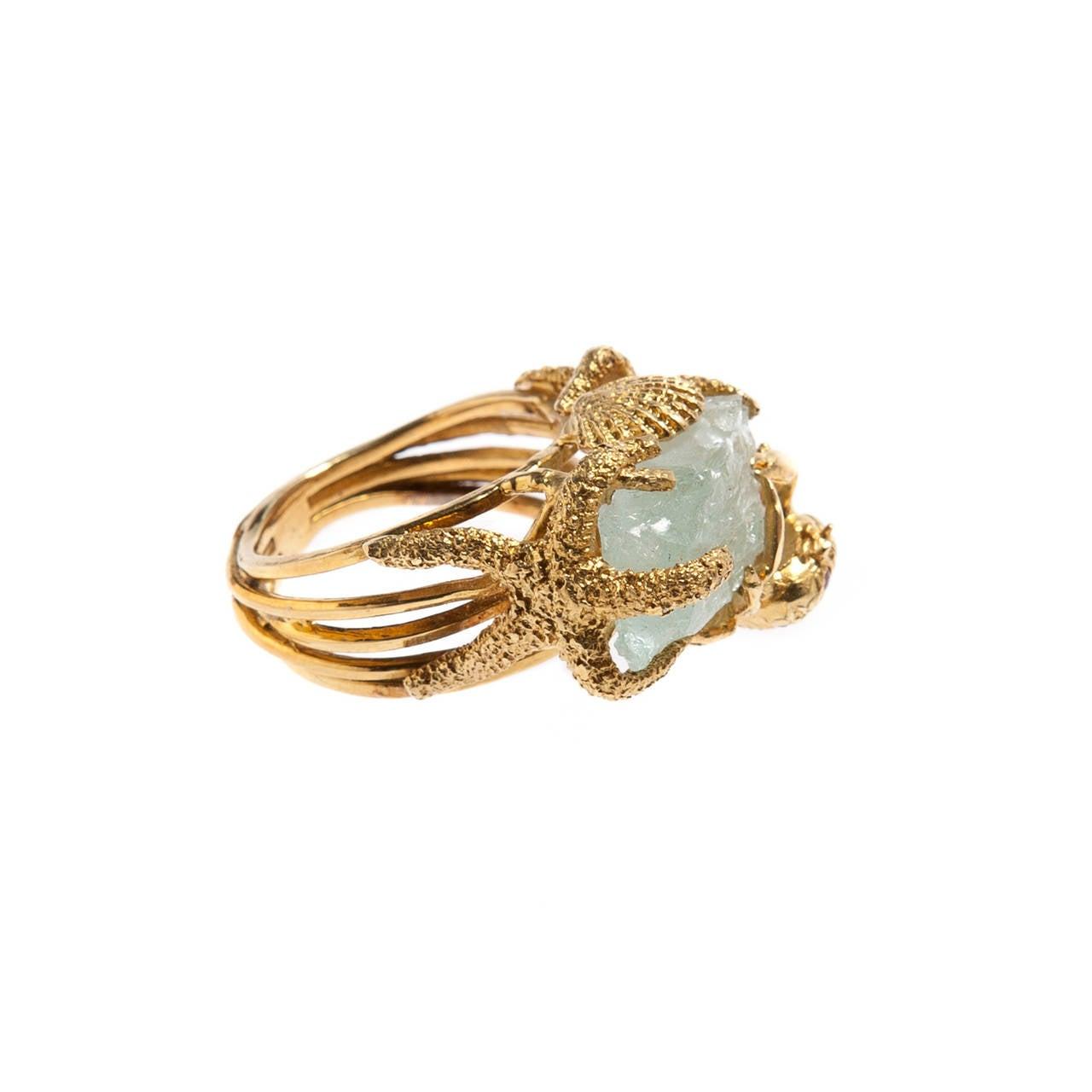 Whimsical Aquamarine Gold Ring 3