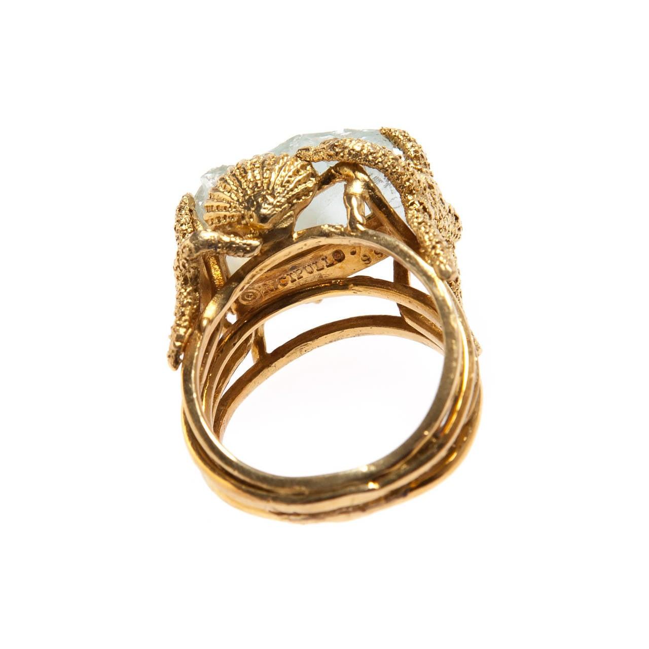 Whimsical Aquamarine Gold Ring 4