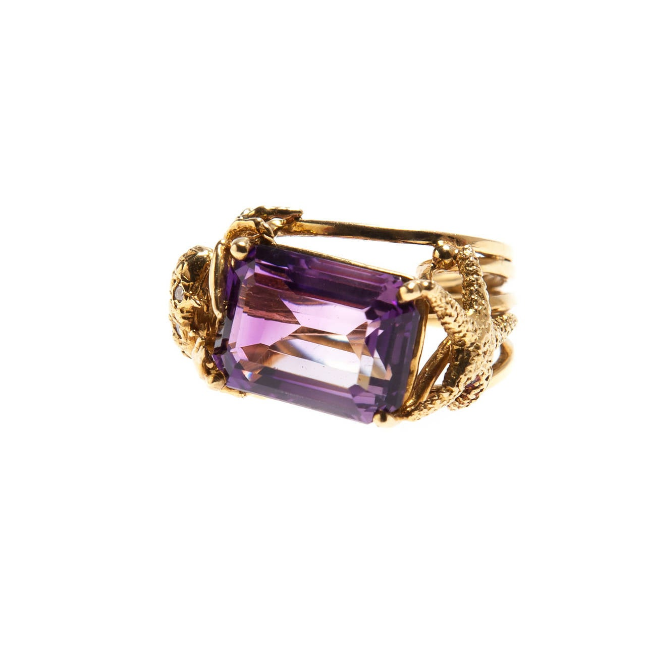 emerald cut amethyst gold ring for sale at 1stdibs