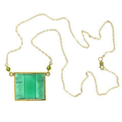 Original Art Deco Pendant with Emeralds