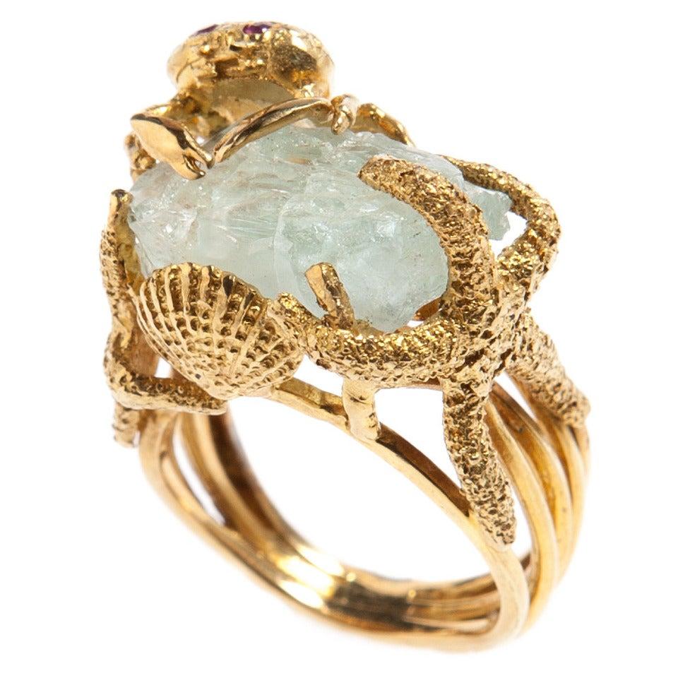 Whimsical Aquamarine Gold Ring 1
