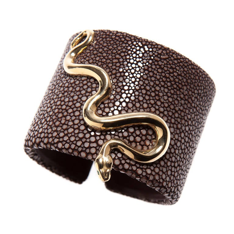 Cipullo Gold Serpent Shagreen Cuff