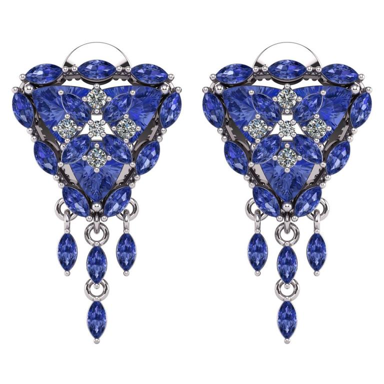 com silver sterling earrings amazon dp stud trillion finish diamond cz tanzanite rhodium