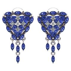 Trillion Tanzanite Diamond Flower Halo Earrings by Juliette Wooten White Gold