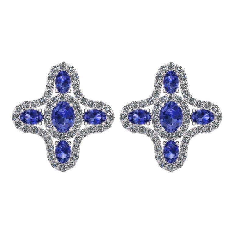 Tanzanite Diamond Halo Stud Earrings by Juliette Wooten White Gold