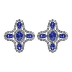 Tanzanite Diamond Halo Stud Earrings by Juliette Wooten White Gold
