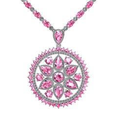 Pink Sapphire Diamond Tennis Necklace Medallion by Juliette Wooten White Gold