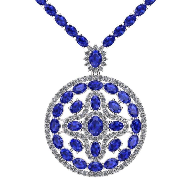 Blue Sapphire Diamond Tennis Necklace Medallion by Juliette Wooten White Gold  For Sale
