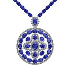 Blue Sapphire Diamond Tennis Necklace Medallion by Juliette Wooten White Gold