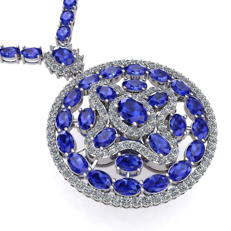 Contemporary Blue Sapphire Diamond Tennis Necklace Medallion by Juliette Wooten White Gold  For Sale