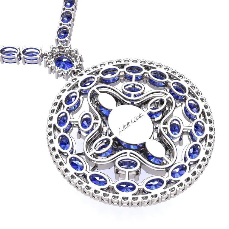 Blue Sapphire Diamond Tennis Necklace Medallion by Juliette Wooten White Gold  For Sale 1