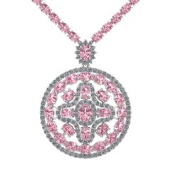 Pink Sapphire Diamond Tennis Necklace Medallion by Juliette Wooten White Gold