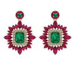 Juliette Wooten Emerald Ruby Diamond Yellow Gold Halo Dangle Earrings