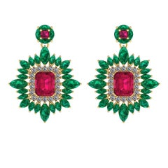 Juliette Wooten Ruby Emerald Diamond Yellow Gold Halo Dangle Earrings