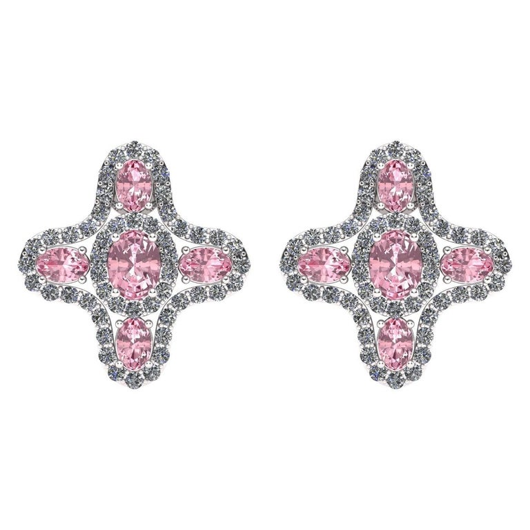 Juliette Wooten Pink Sapphire Diamond White Gold Stud Halo Earrings