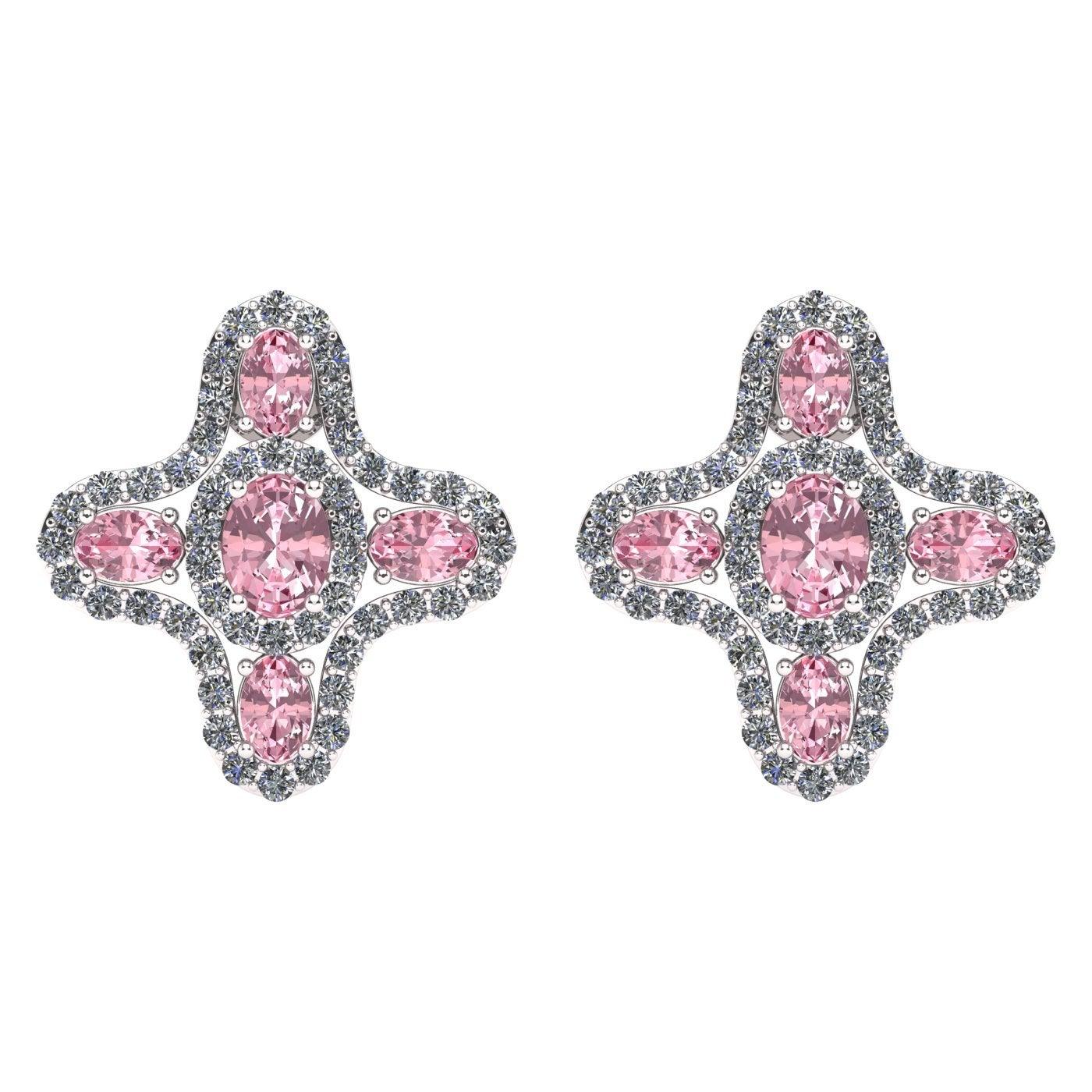 Juliette Wooten Pink Sapphire Diamond White Gold Stud Halo Earrings