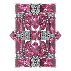 Juliette Wooten Baguette Pink Tourmaline Heart Diamond White Gold Ring