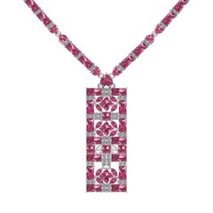 Juliette Wooten Baguette Pink Tourmaline Heart Diamond White Gold Necklace