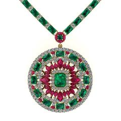 Emerald Ruby Diamond Tennis Necklace Medallion by Juliette Wooten Yellow Gold
