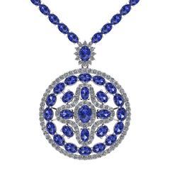 Tanzanite Diamond Tennis Necklace Medallion by Juliette Wooten White Gold
