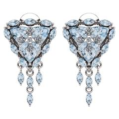 Trillion Aquamarine Diamond Halo Flower Earrings by Juliette Wooten White Gold