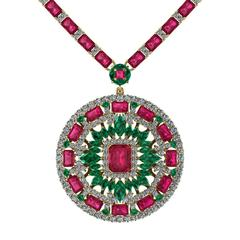 Ruby Emerald Diamond Tennis Necklace Medallion by Juliette Wooten Yellow Gold