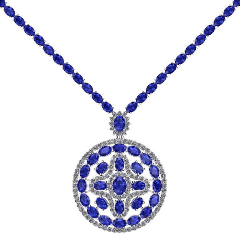 Blue Sapphire Diamond Tennis Necklace Medallion by Juliette Wooten White Gold  For Sale 2