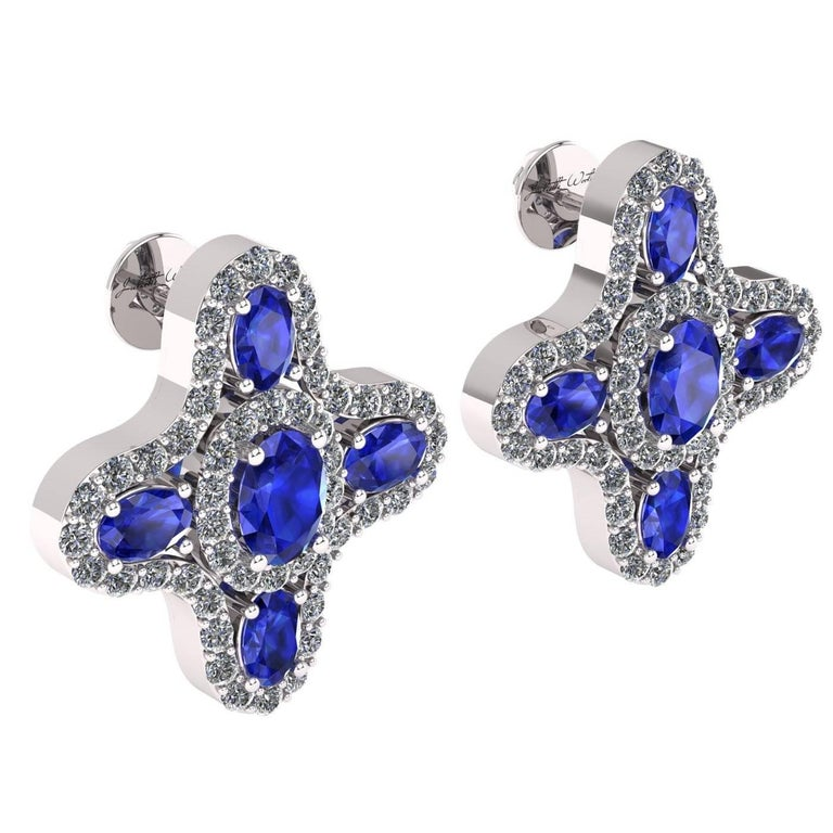 Juliette Wooten Blue Sapphire Diamond White Gold Halo Stud Earrings    In New Condition For Sale In Sanford, FL