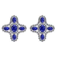 Juliette Wooten Blue Sapphire Diamond White Gold Halo Stud Earrings