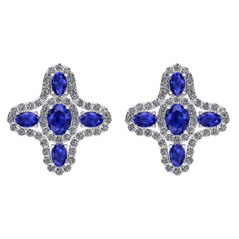 Juliette Wooten Blue Sapphire Diamond White Gold Halo Stud Earrings    For Sale