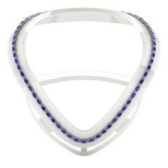 Blue Sapphire Diamond Tennis Necklace by Juliette Wooten White Gold