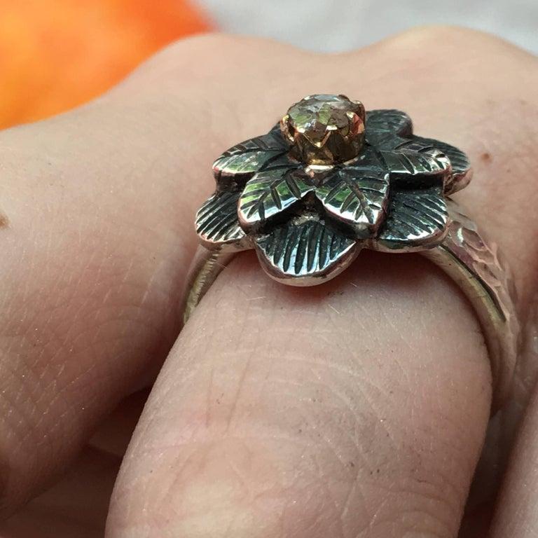 Rose Cut Emma Chapman Diamond 18 Karat Gold Silver Flower Ring