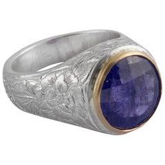 Emma Chapman Tanzanite Yellow Gold Silver Engraved Ring