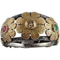 Emma Chapman Diamond Ruby Emerald Yellow Gold Silver Flower Ring