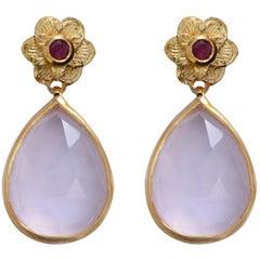 Emma Chapman Rose Quartz Ruby Gold Plate Earrings