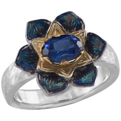 Emma Chapman Blue Sapphire 18 Karat Yellow Gold Silver Lotus Flower Ring