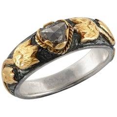 Emma Chapman Diamond 18 Karat Yellow Gold Silver Band Ring