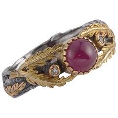 Emma Chapman Ruby Diamond 18 Karat Gold Silver Ring