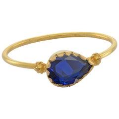Emma Chapman Blue Sapphire 18 Karat Yellow Gold Stacking Ring