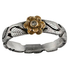 Emma Chapman Diamond 18 Karat Yellow Gold Silver Flower Ring