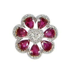 18 Karat White Gold Gilin Ruby and Diamond Flower Cocktail Ring