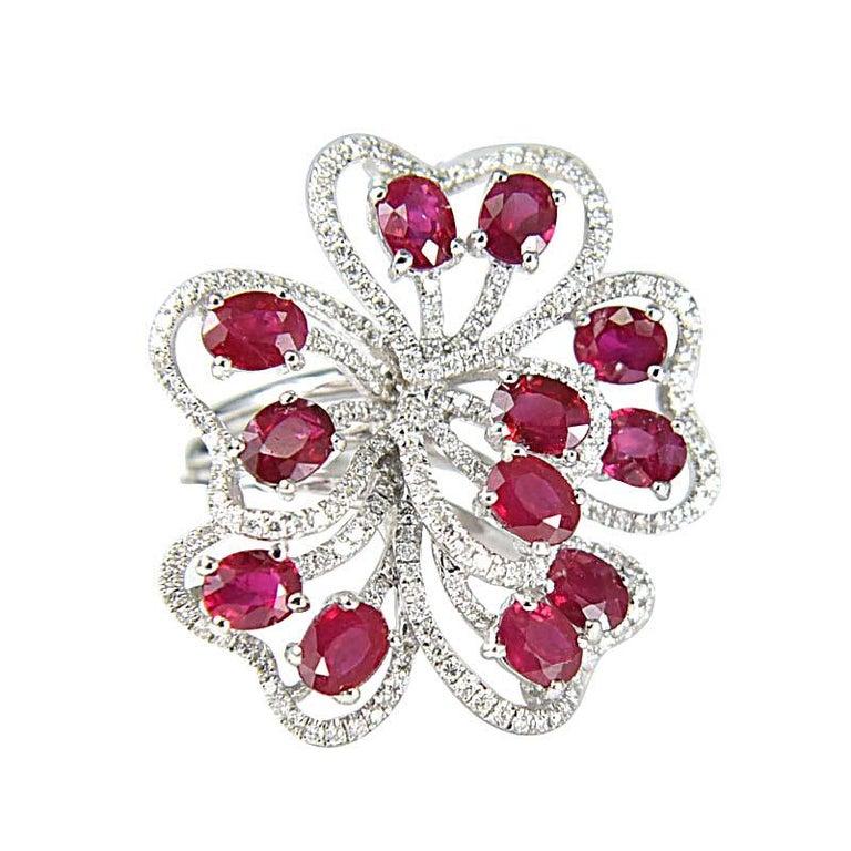 18 Karat Gold Gilin Ruby and Diamond Cocktail Ring