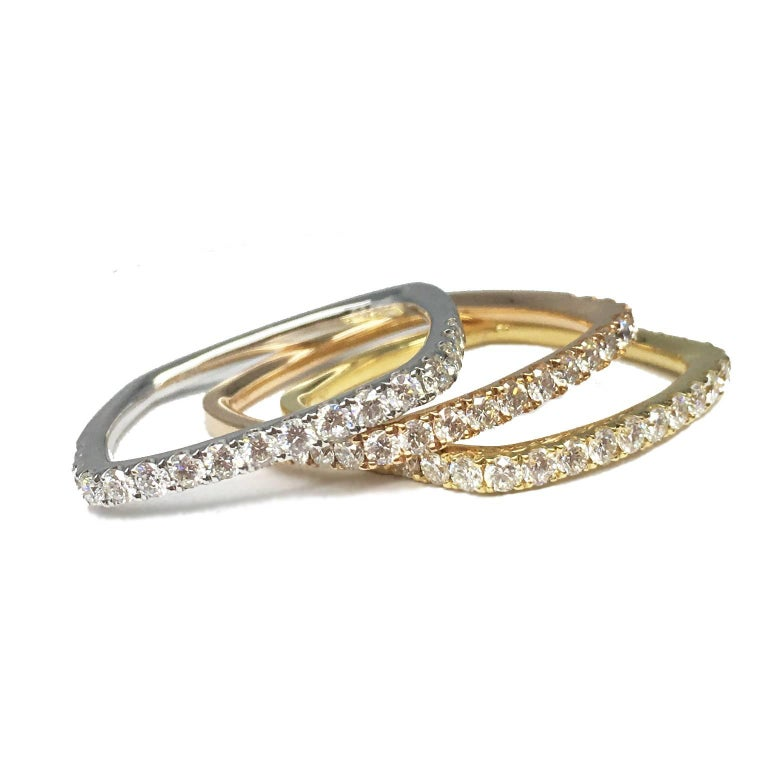Rose Gold Diamond Square Wedding Ring Band For Sale At 1stdibs